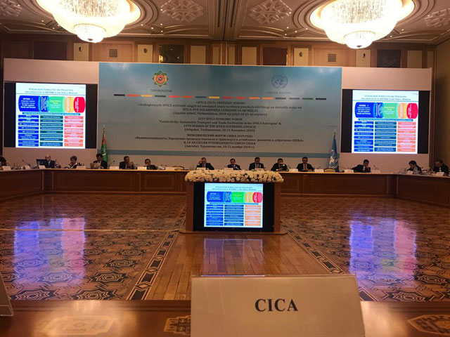 On November 20-21, 2019, the Member of Professional Personnel of CICA Secretariat Sholpan Yelkeyeva, took part in the Economic Forum of the UN Special Program for Economies of Central Asia (SPECA) hosted by the Government of Turkmenistan.