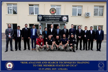 In capacity of coordinator in implementation of CBMs in 'New Challenges and Threats' dimension, Republic of Turkey organized a five days Training Program 'Risk analysis and search techniques' in Ankara on 15-19 April 2019. Participants from ten member states- Azerbaijan, China, India, Iran, Kazakhstan, Mongolia, Palestine, Qatar, Thailand and Sri Lanka participated in the training program, organized in Counter Narcotics Academy (NEA) located in Ankara.
