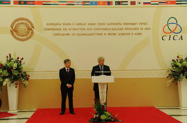 H.E. Mr. Erlan Idrissov and Ambassador Gong Jianwei at CICA Day reception