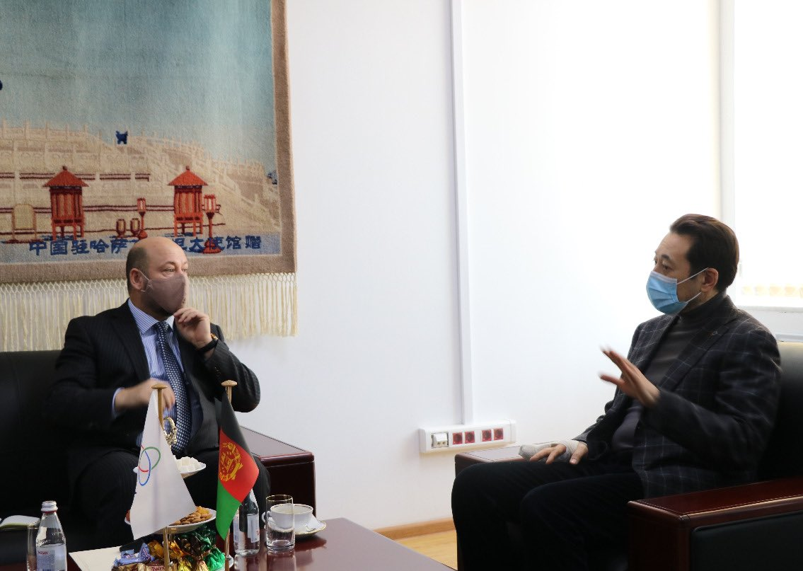 Prospects of peace building in Afghanistan and the CICA potential in this process have been discussed during the meeting of the Executive Director of the CICA Secretariat Ambassador K.Sarybay with the Charge d'Affaires of Afghanistan in Kazakhstan, Mr. Aziz Omar.